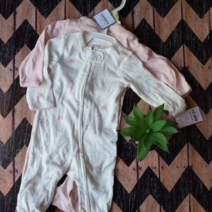 Carter's 2 pc 3 Month Pink Footed Pajama Set